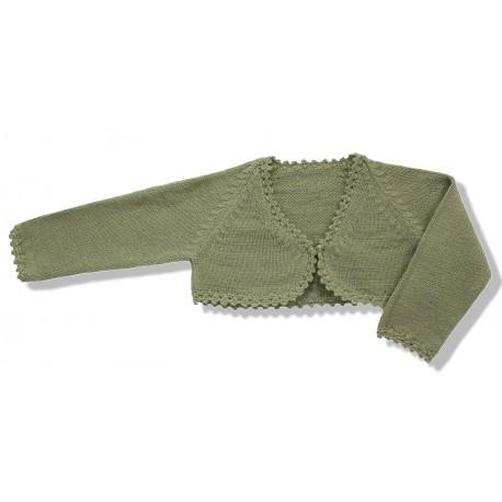 Chaqueta torera niña lana verde caqui