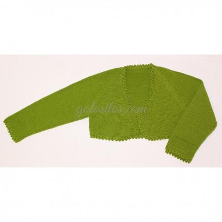 Chaqueta torera niña lana verde primavera