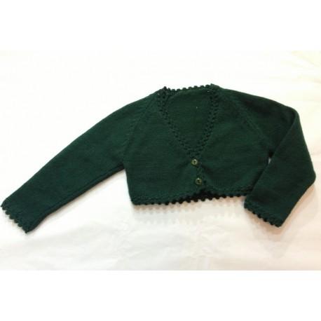Chaqueta torera niña lana verde botella