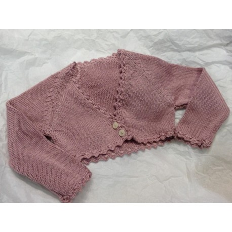 Short Cardigan for girls OLD PINK PERLE