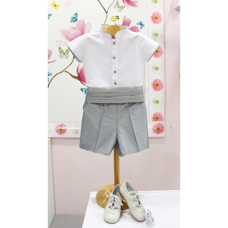 Boy Ring bearer outfit. White shirt with silk pants and belt
