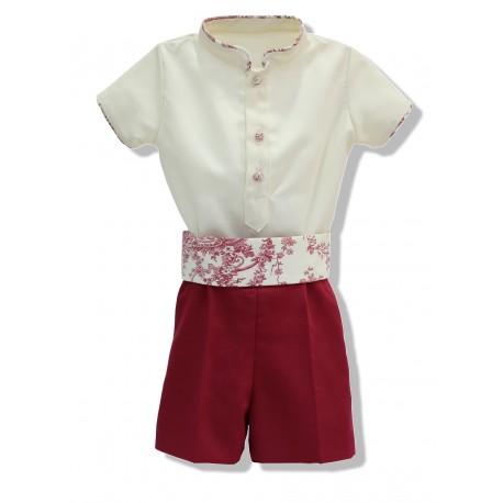 Traje de niño para boda. Color marfil con pantalón guinda. Fajin ...