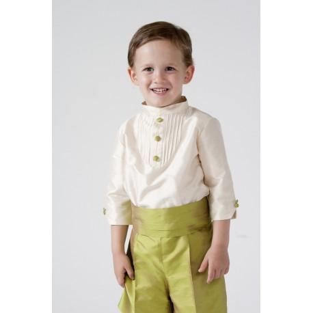 Traje de niño para boda en seda, camisa marfil pantalón verde manzana