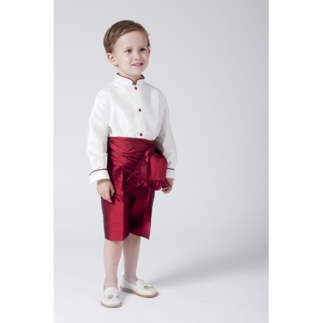 Boy Ring bearer outfit. Ivory silk with garnet shorts