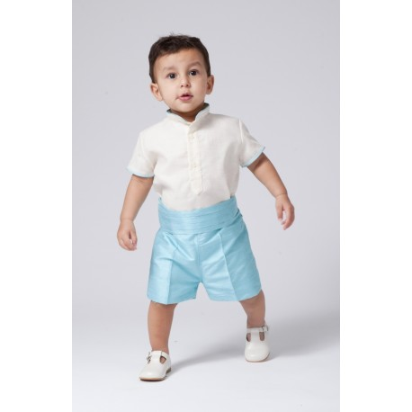 Boy Ring bearer outfit. Ivory linen with shorts in turquoise silk