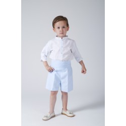 Boy Ring bearer outfit. White linen with shorts in light blue linen. Children's ceremonial clothing