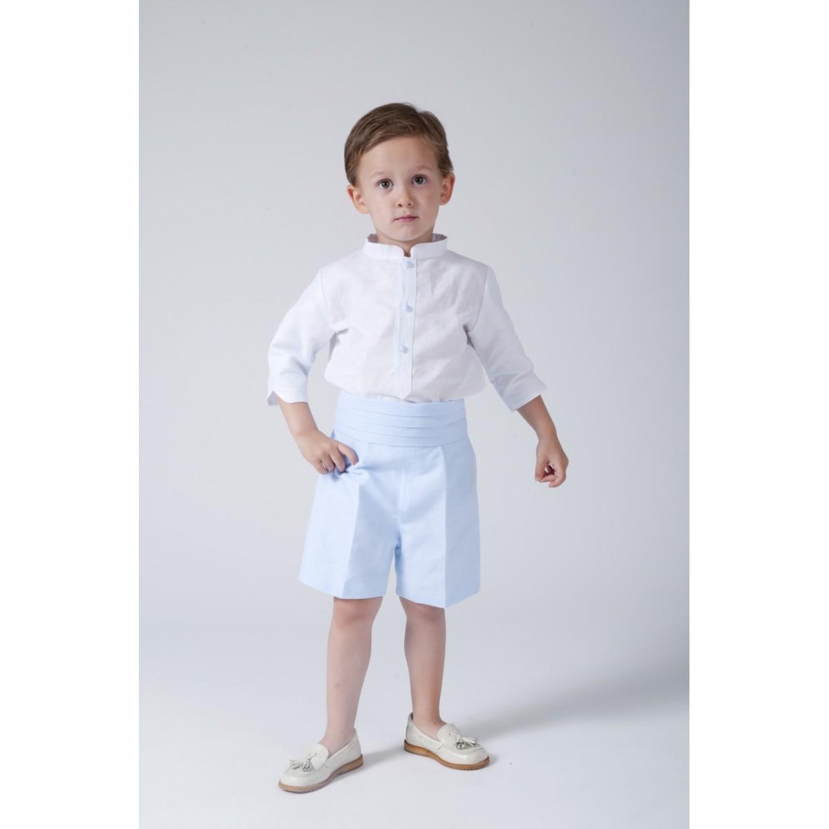 f1ade8984 Traje de niño para boda. Lino blanco con celeste - Golositos Ropa ...