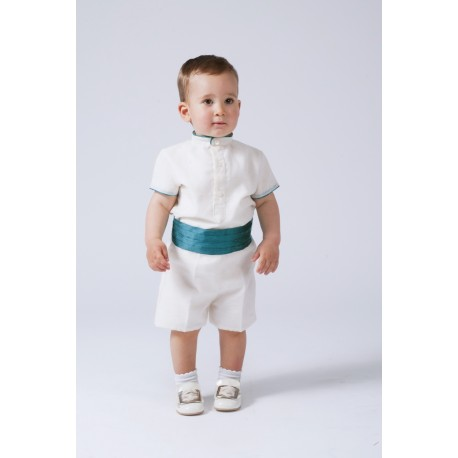Boy Ring bearer outfit. Ivory linen with silk sash. Children's ceremonial clothing