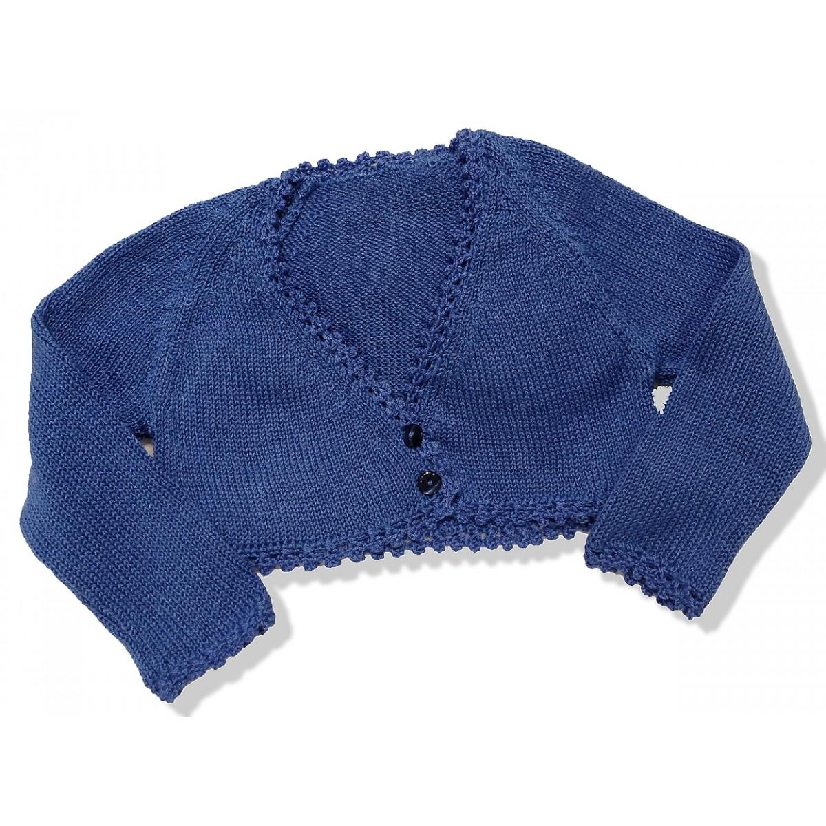 Grayish Blue short cardigan for girls grayish blue perle - golositos ropa infantil