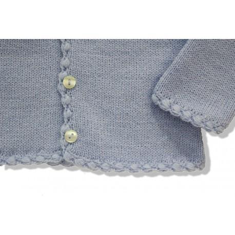 Chaqueta larga lana azul cielo