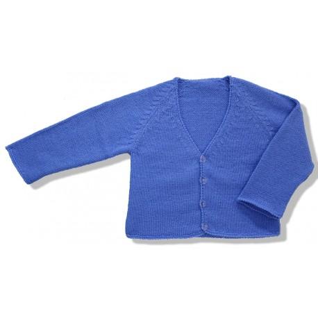 Chaqueta larga lana azul francia