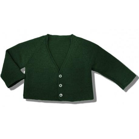 Chaqueta larga lana verde botella
