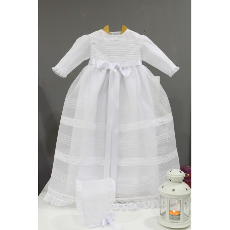 Christening gown, white swiss organdi with white laces. With bonnet, long sleeves