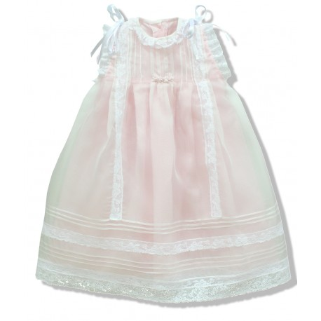Christening gown, in ivory silk organza, lined with soft light pink cotton