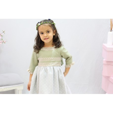 Pale green linen Flower girl dress, with cotton laces