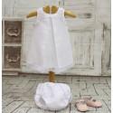 Jesusito de lino blanco marfil, con pliegue al centro. Bautizo, ocasion especial, boda... Con braguita a juego