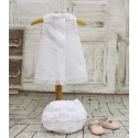 Baby dress, in white linen with adorable matching bloomers