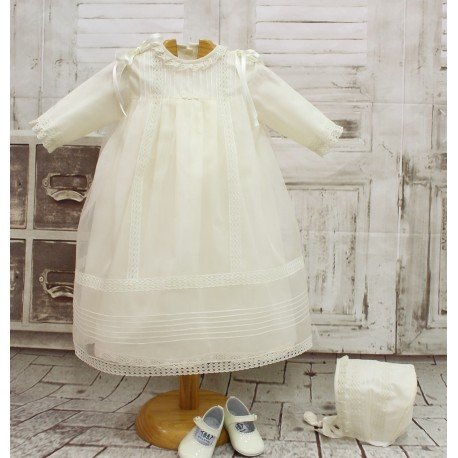 Christening gown, in ivory silk organza and ivory cotton laces. Three quarter sleeves