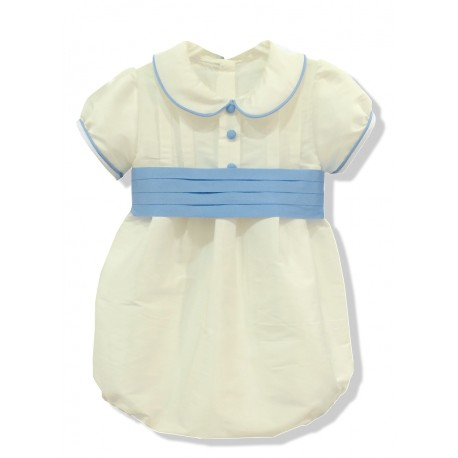 Baby boy baptism romper in ivory silk. Puff sleeves, peter pan collar. With sash