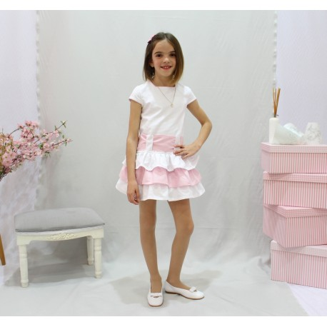 Vestido de arras, pique blanco talle bajo, falda volantes