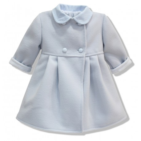 Abrigo de bebe de mouflon azul celeste. Unisex. Botones forrados