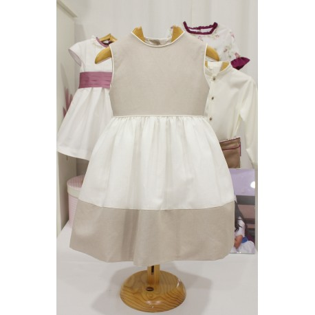 Linen Flower girl dress, with stone color linen