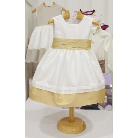 Vestido de arras seda marfil con adornos en seda dorada