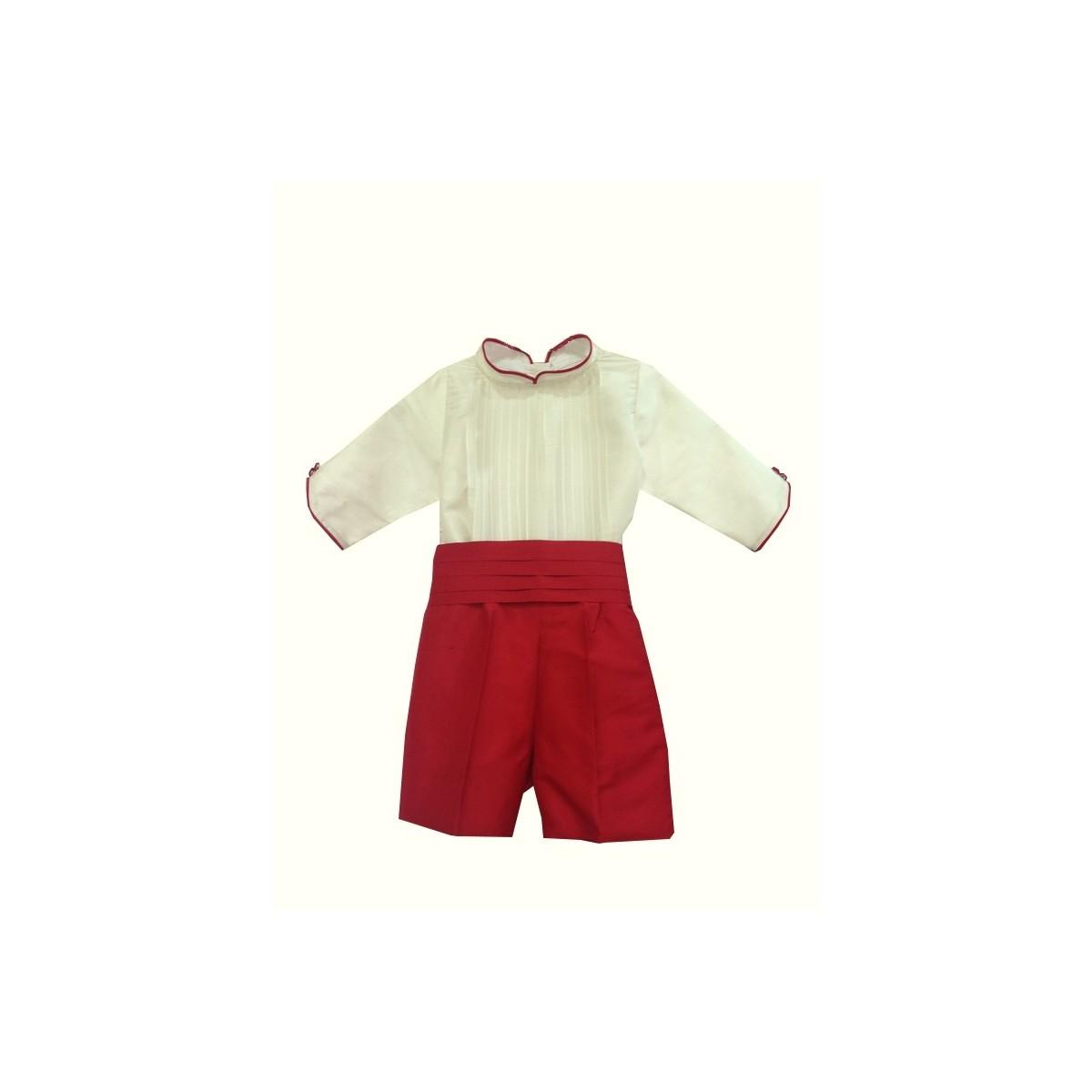 Marfil Rojo De Traje Camisa Seda Niño Pantalón En Manga Para Boda 0FPwzF7q