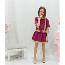 Flower girl dress, drop waist. Beige cotton laces ornaments