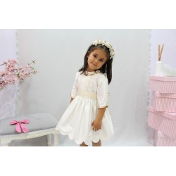 Ivory silk flower girl dress, three quarter sleeves. Great back bow