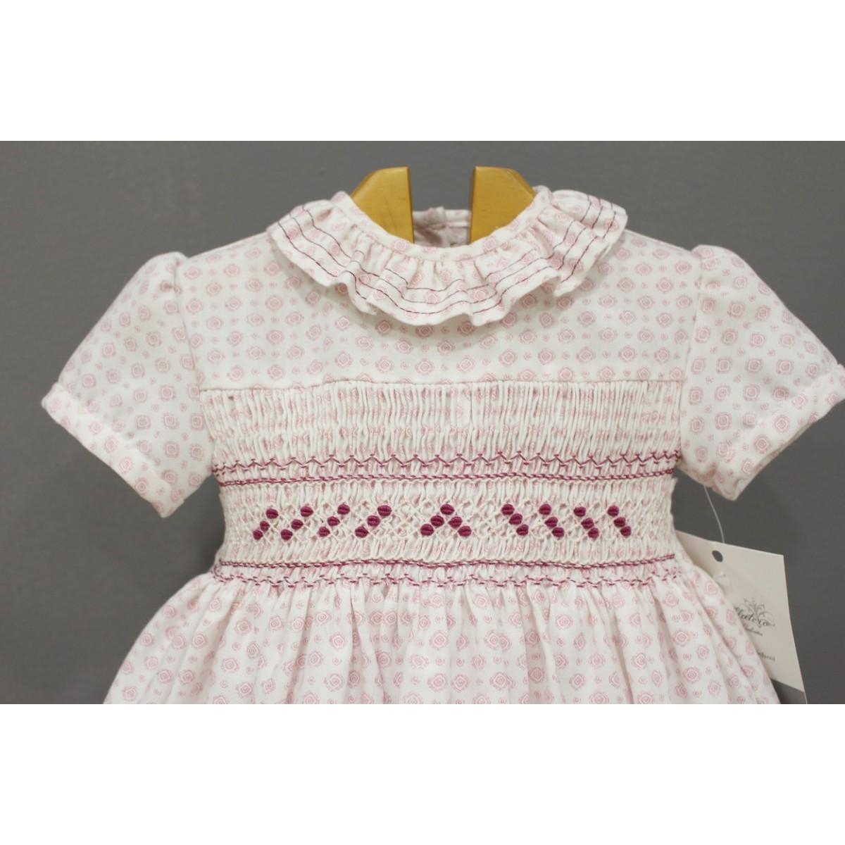 Hand smocked dress in light pink viyella for baby girl ...