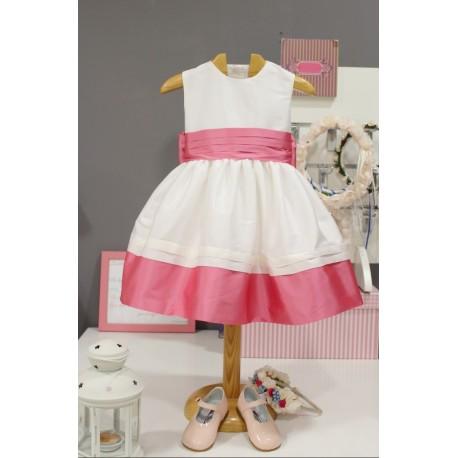 Vestido de arras para niña con chaqueta a juego rosa
