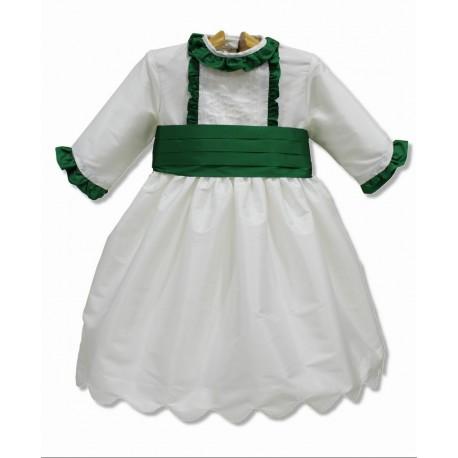 Vestido de arras seda marfil, manga francesa. Adornos en seda verde
