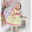 Print Flower girl dress, with fucshia color