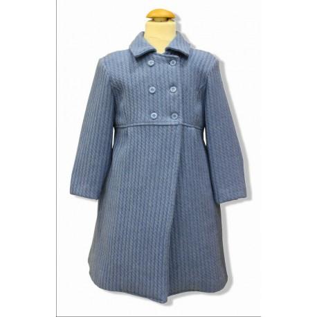 Abrigo infantil unisex paño trenzado azul francia