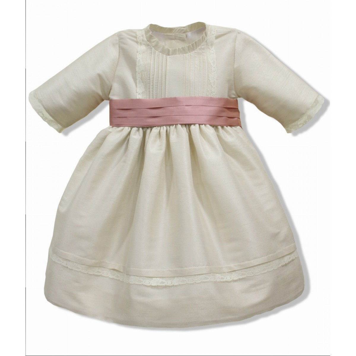 Chapagne Silk Flower Girl Dress Three Quarter Sleeves Golositos