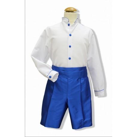 Traje de arras niño. Camisa blanca pantalón seda azulon