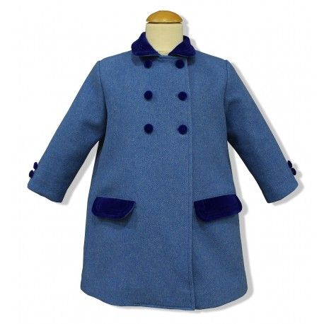 French Blue Wool English Coat for children