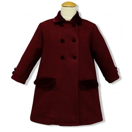 Maroon Wool English Coat for children