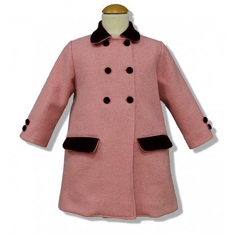 Pink Wool English Coat for children