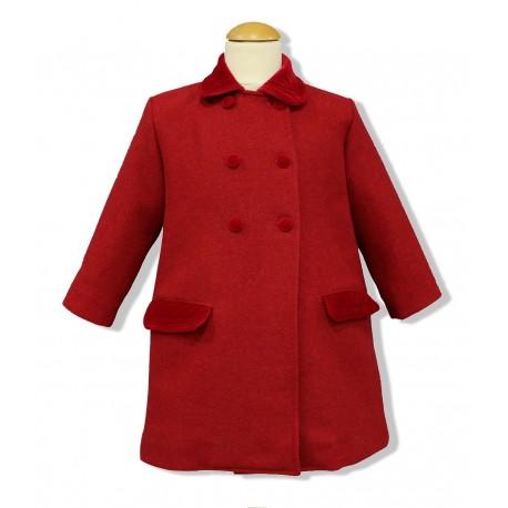 Abrigo infantil unisex paño rojo. Abrigo ingles