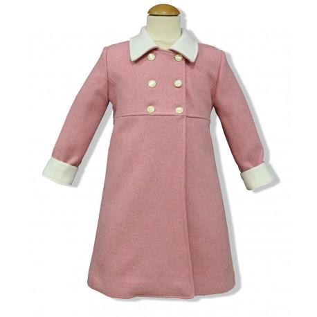 Abrigo niña paño rosa, combinado. Beige/marfil
