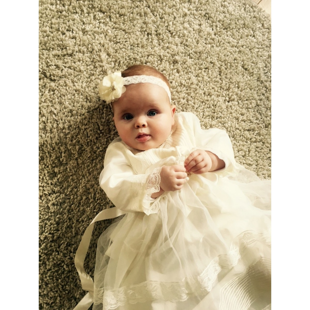 15f89d8a Christening gown, in ivory organza and ivory laces. With bonnet, long  sleeves