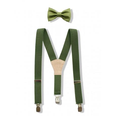 Conjunto de tirantes y pajarita para niño. Verde Militar