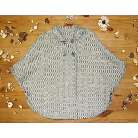 Capa para niña en paño azul con gris