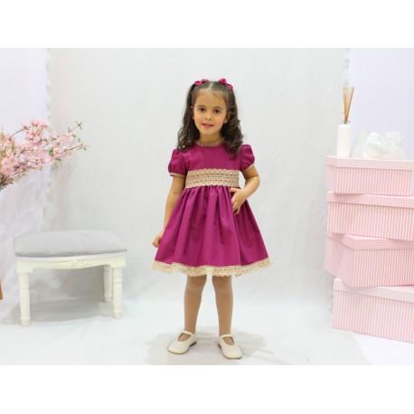 Purple flower girl dress. Beige cotton laces ornaments